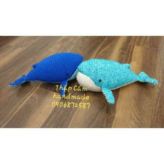 Cá voi xanh thủ công 100% tự làm len nhập