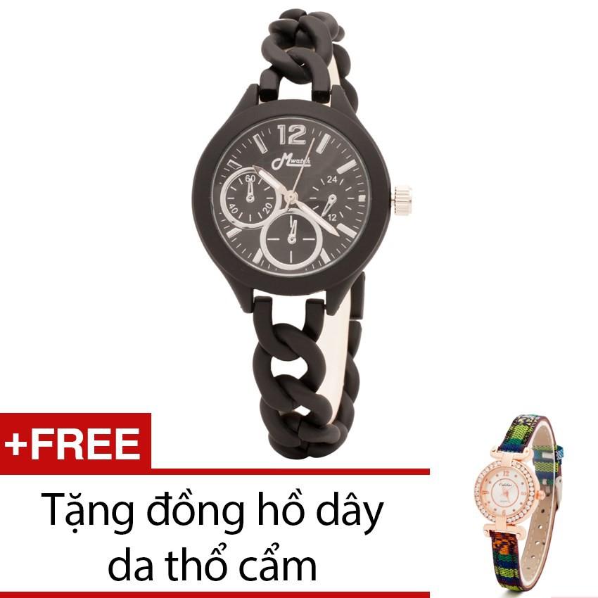 Đồng hồ nữ Mwatch dây kim loại xích đen tặng kèm 1 đồng hồ thổ cẩm - 2398432 , 101039095 , 322_101039095 , 500000 , Dong-ho-nu-Mwatch-day-kim-loai-xich-den-tang-kem-1-dong-ho-tho-cam-322_101039095 , shopee.vn , Đồng hồ nữ Mwatch dây kim loại xích đen tặng kèm 1 đồng hồ thổ cẩm
