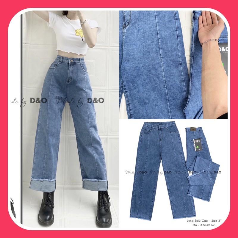 Quần Jean Cạp Cao - Quần Suông Giãn Mạnh Cạp Cao Qua Rốn - Quần Jeans Ống Rộng Thân Nối Thời Trang