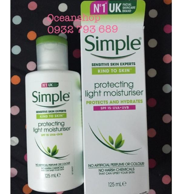 Kem Dưỡng Simple Kind To Skin Protecting Light Moisturiser SPF15 về hàng SALE