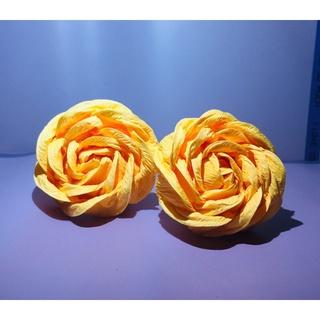 Đầu hoa hồng giấy nhún ý 5cm | 2 bông | Ms.Rosa
