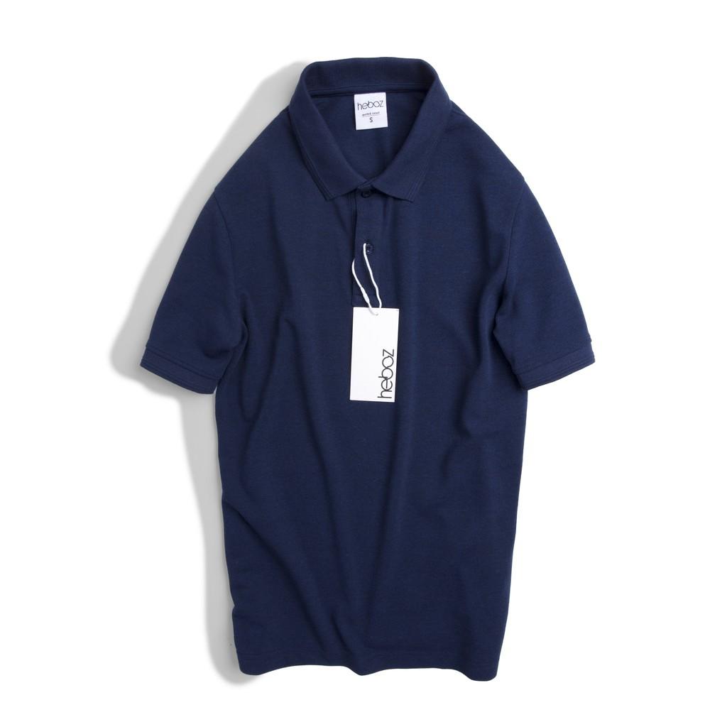 Áo thun có cổ nam - Polo HEBOZ 6M kiểu bo gân tay áo - thun cotton pha mềm mát , trơn nhiều màu - 00000639