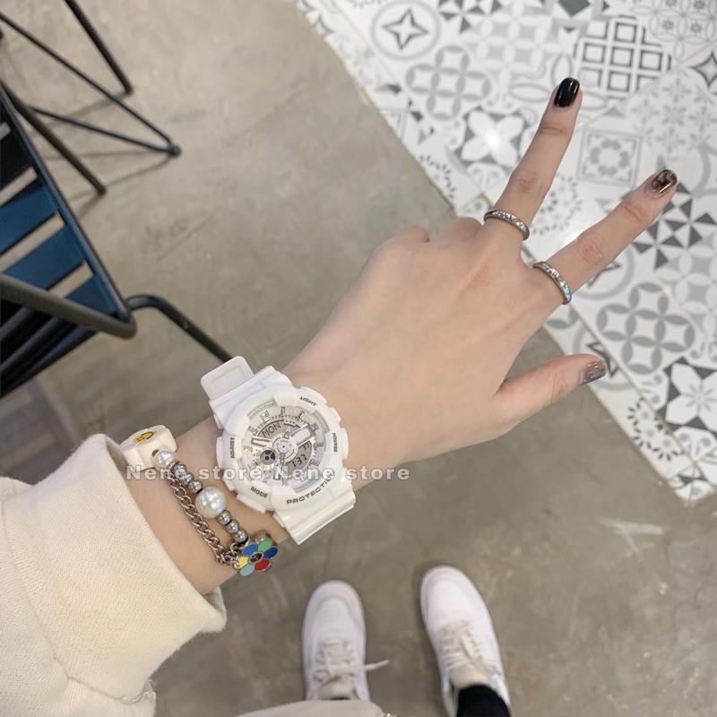 Đồng hồ thể thao nữ BA19 cá tính dây trắng mặt hai màu