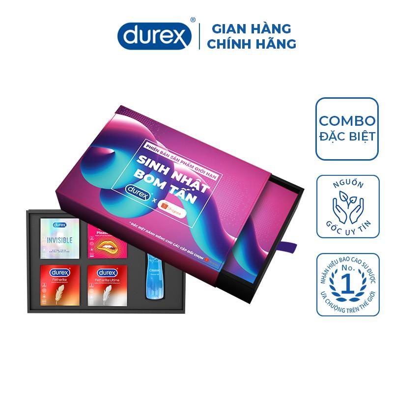 Bộ Durex Birthday 5 sản phẩm (4 hộp bao cao su 3 bao/hộp + 1 gel bôi trơn 50ml)