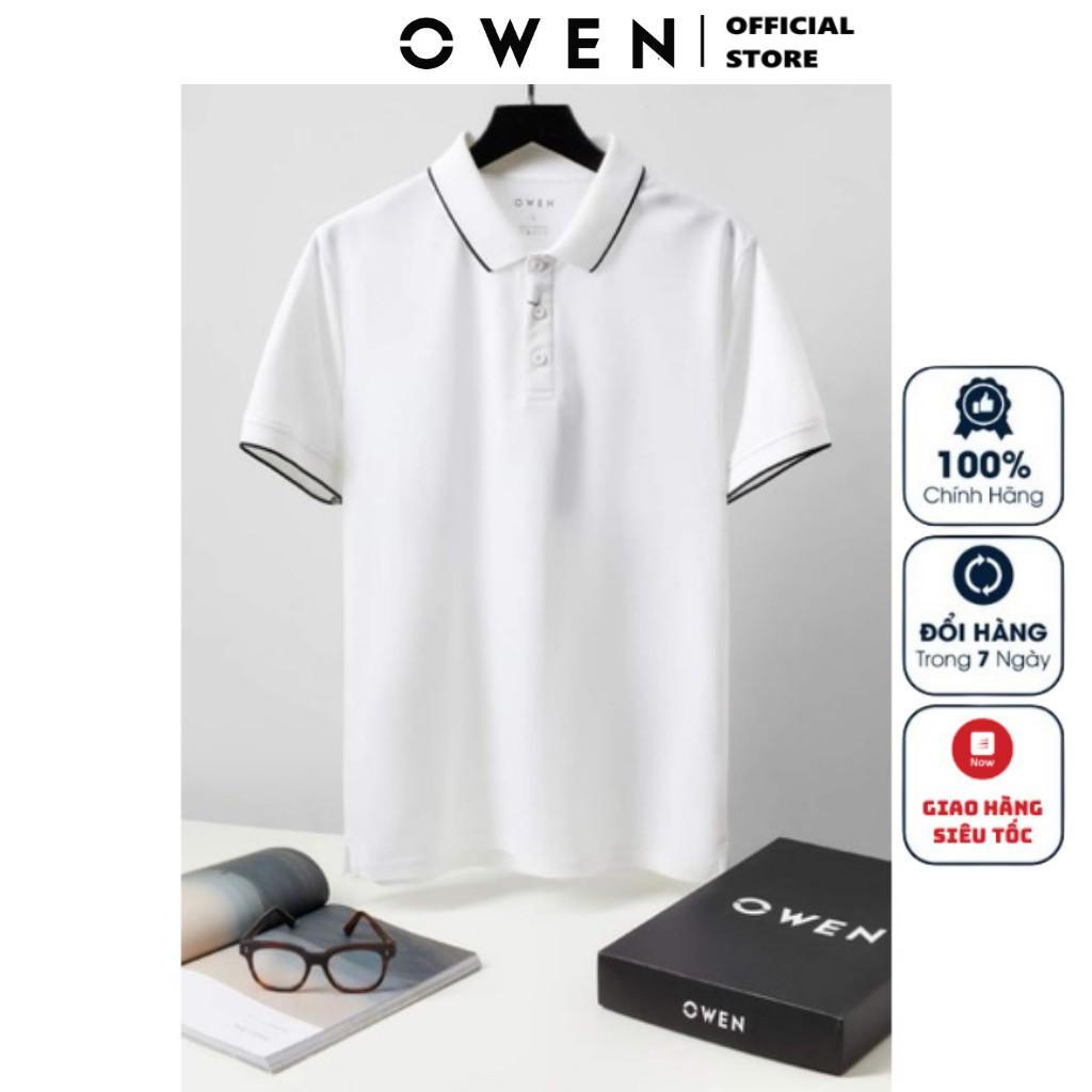 Áo Thun Nam Tay Ngắn Có Cổ Owen APV23062 Màu Trắng Viền Cổ Đen Kiểu Dáng Body Fit Chất Liệu Scafe