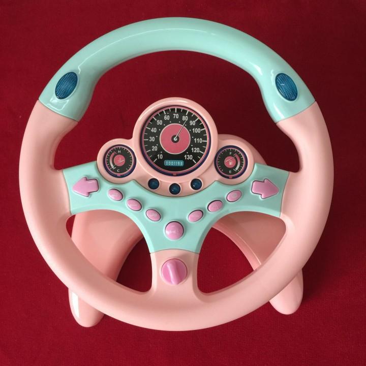 [Xả kho + free ship] đồ chơi trẻ em vô lăng có hiệu ứng âm thanh ánh sáng xoay 360 độ gắn lên ô tô mặt phẳng
