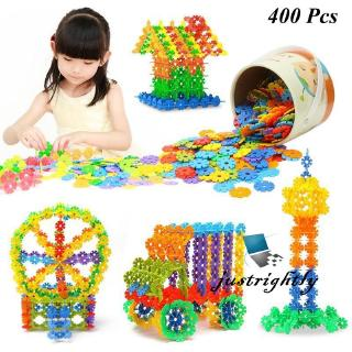 Jry₪Pack of 150/400 pcs Wooden Snow Flake Pieces Kids DIY Educational Assembly Toy
