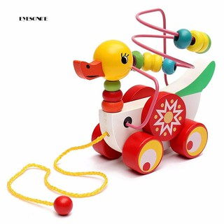 ♕Colorful Wooden Pull Walk Along Duck Toy Bead Development Intelligence Kid Gift
