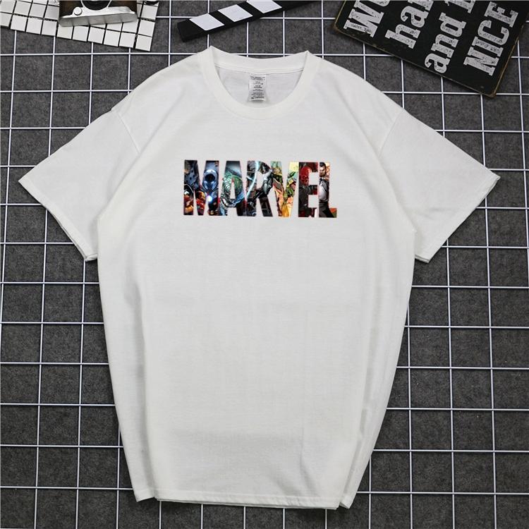 Áo thun họa tiết Marvel màu trơn trẻ trung