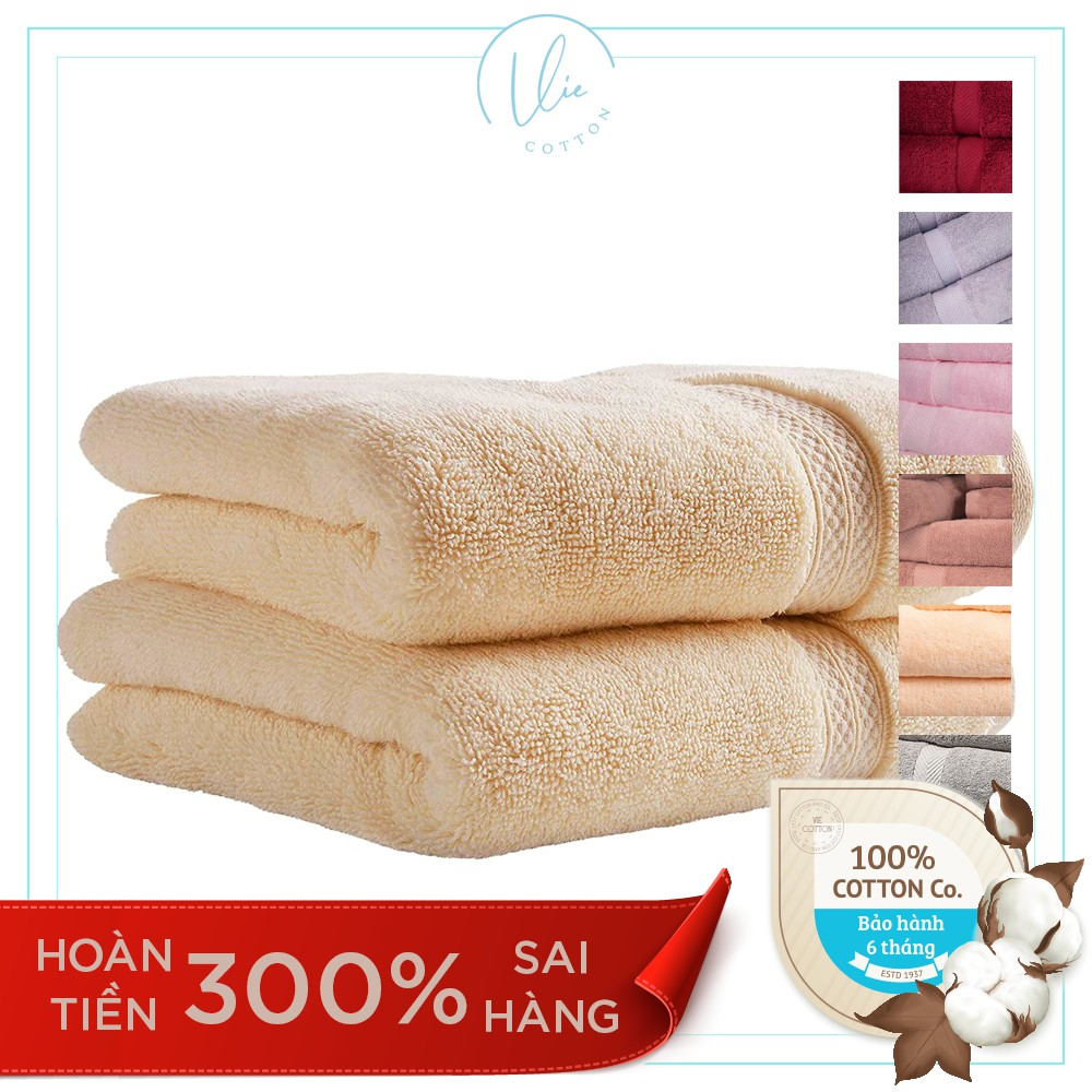 Set 2 khăn tắm cao cấp VIECOTTON 100% cotton siêu dày siêu mềm mịn thấm hút - Cam kết giao đúng màu
