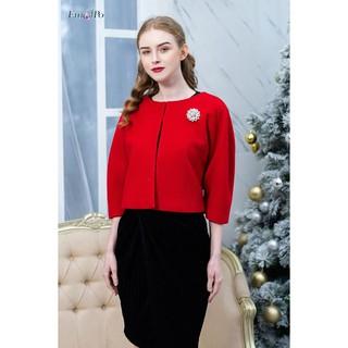 Áo dạ cổ tròn, dáng tay chuông rộng, cài bông tuyết Emspo AGM0042 (Đen, Đỏ) thumbnail