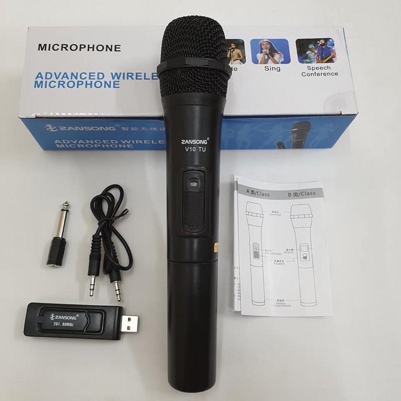 Micro Karaoke không dây đa năng cao cấp UHF V10 - dành cho loa kéo, loa bluetooth, amply hát karaoke zack