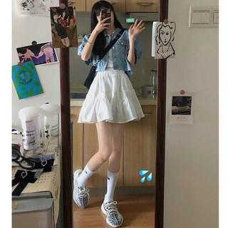 [Mã WAMT1505 giảm 10K đơn 0K] Chân váy ngắn 2 tầng xếp ly ulzzang, chân váy ngắn 2 lớp vải voan có hai màu đen, trắng