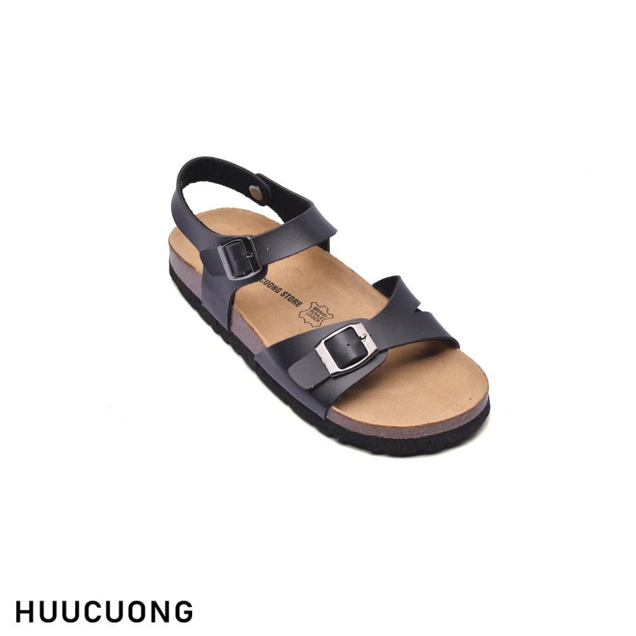Sandal HuuCuong 1 khóa đen đế trấu