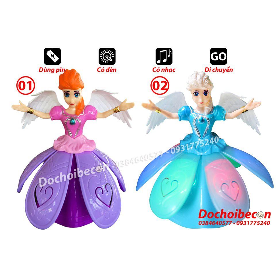 Lồng đèn trung thu Elsa váy xòe, xoay 360 độ: Đèn, nhạc, di chuyển
