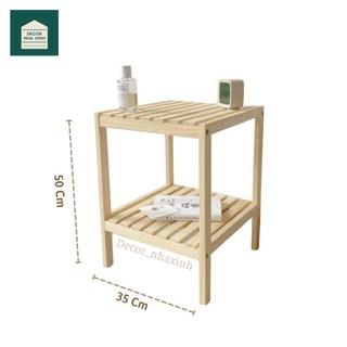 Kệ gỗ đầu giường 2 tầng gỗ thông tự nhiên chống mọt ẩm cong vênh, tự lắp ráp dễ dàng Tab đầu giường, Kệ để giày dép gỗ thumbnail