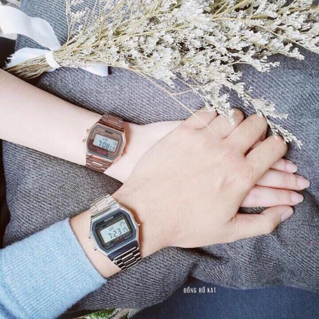 Đồng hồ nam nữ Skmei M14583 điện tử chống nước tốt mặt vuông dây kim loại hot