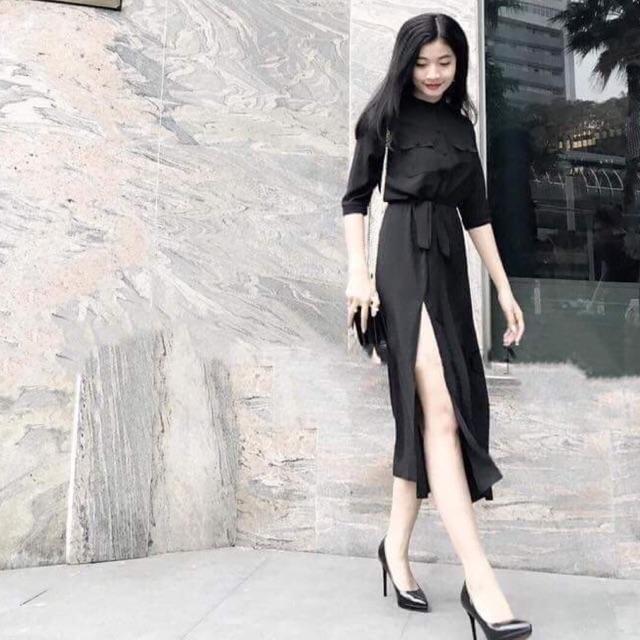 Đầm đen dài nút bọc (kèm hình thật)