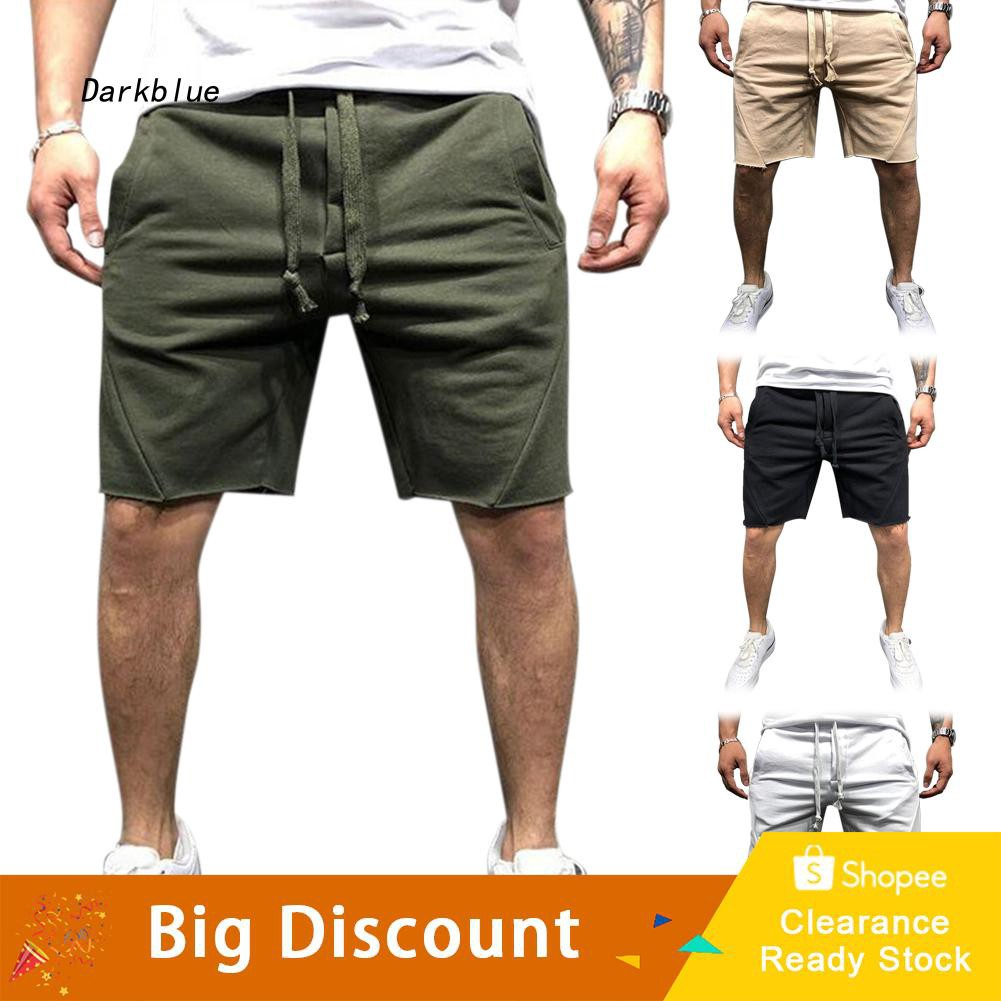 DKBL_Fashion Solid Color Summer Sports Casual Fitness Running Men's Shorts Sweatpants