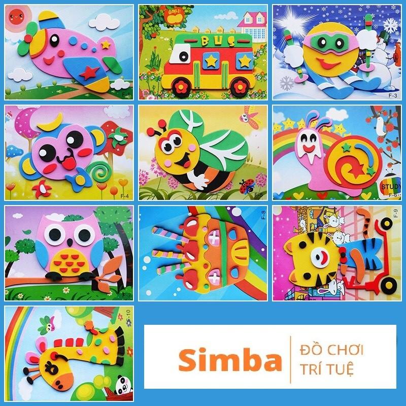 Tranh xé dán giấy bằng xốp đồ chơi Simbaba cho bé rèn luyện khéo léo