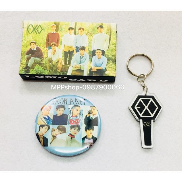 Combo 1 bộ lomo card EXO gồm 30 ảnh khác nhau , 1 huy hiệu EXO, 1 móc khoá mica EXO