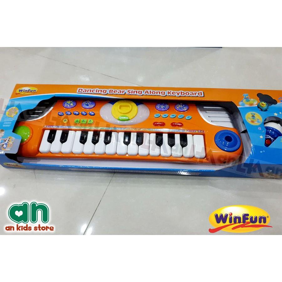 Đàn mini organ kèm micro hình gấu dễ thương WinFun -Hàng nhập khẩu chính hãng