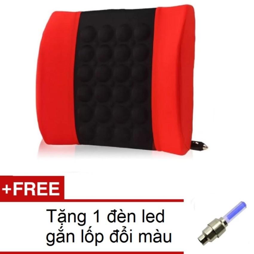 Đệm dựa lưng massage điện cho ô tô SPKH 206072-1A(Đỏ phối đen) + Tặng 1 đèn led gắn lốp đổi màu 2061