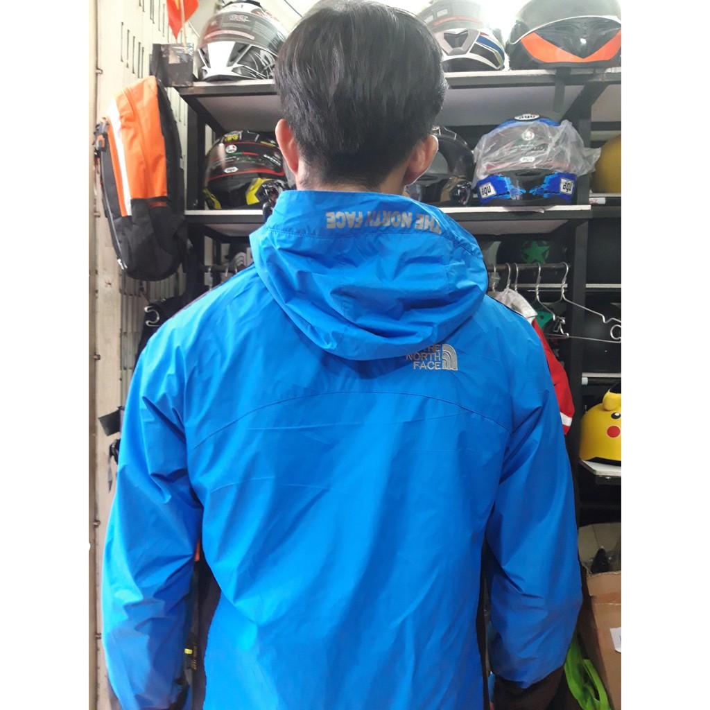 Áo khoác đờ north face 2 lớp chống nước màu xanh dương nhạt - Áo khoác nhẹ