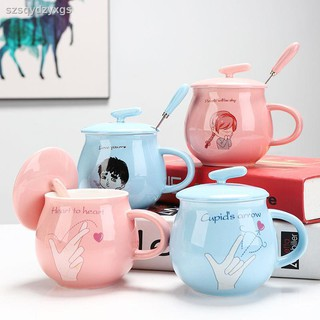 Cốc Uống Sữa Bằng Sứ Có Nắp Đậy Thiết Kế Sáng Tạo