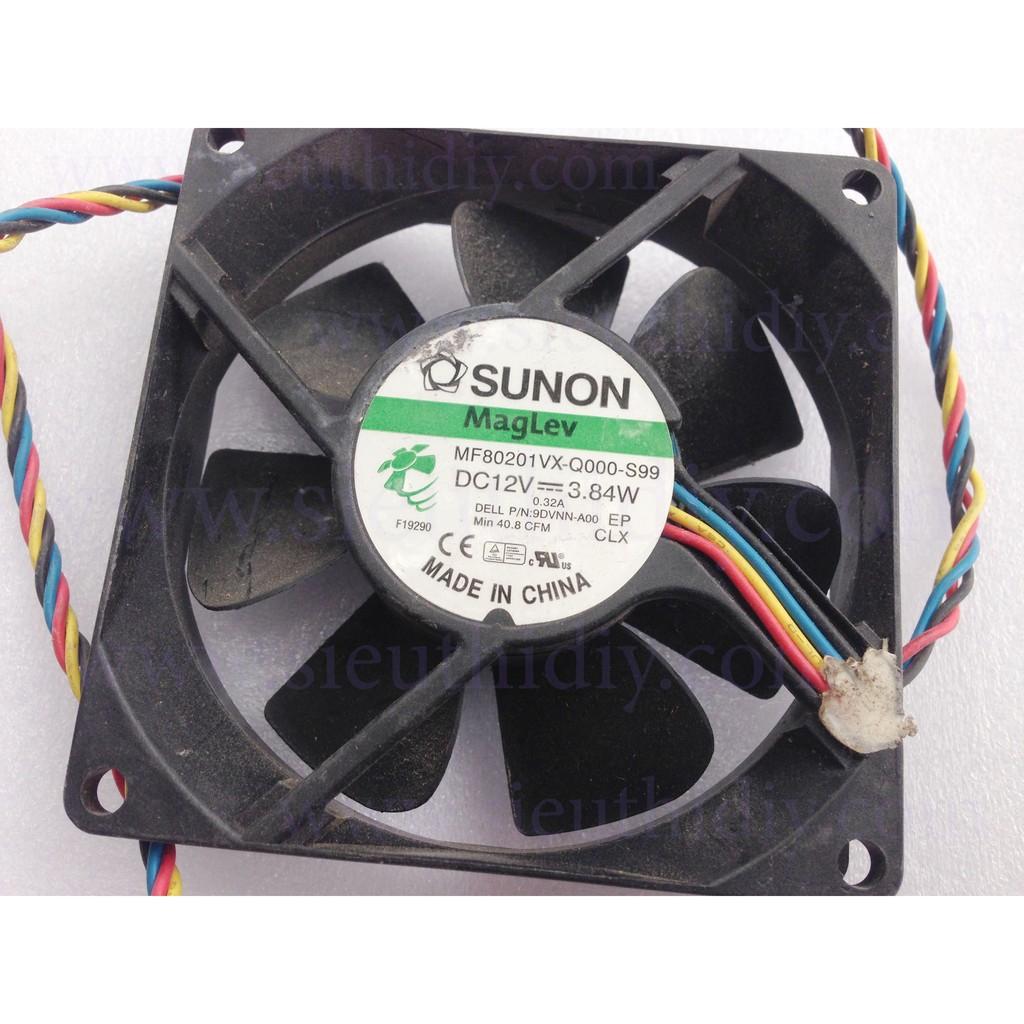 Quạt Fan 8 Sunon 12V 0.32A tháo máy đồng bộ 4pin