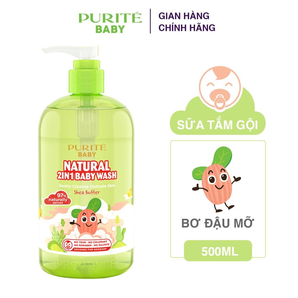 Combo 2 Sữa Tắm Gội Thiên Nhiên Bơ Đậu Mỡ Purité Baby 500ml/chai