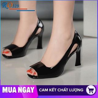 Giày cao gót nữ đẹp đế vuông 7cm hàng hiệu rosata màu đen đỏ xanh ro329