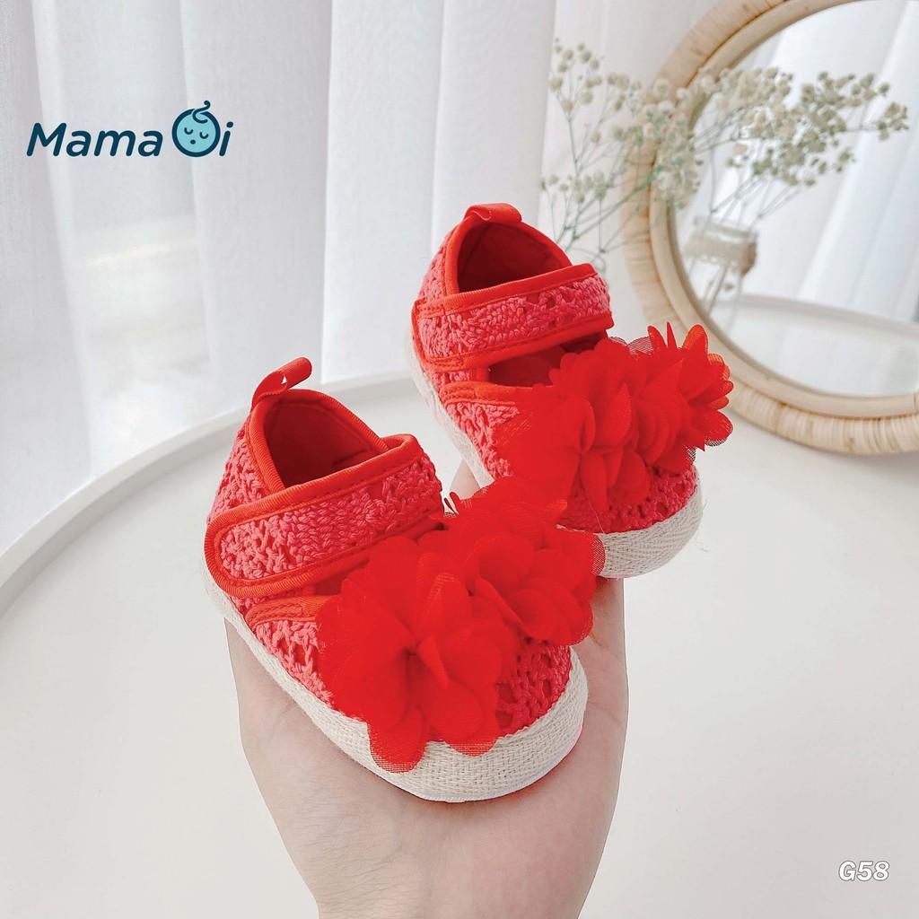 Giày tập đi cho bé giày Búp Bê Bông Hoa Đỏ Bé Gái Tập Đi Của Mama ƠI - Thời trang cho bé