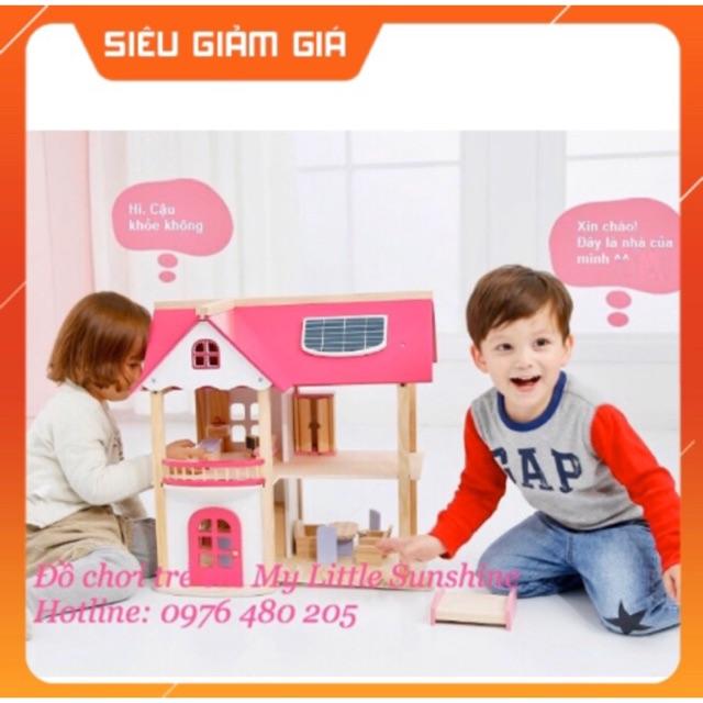 Nhà búp bê Barbie 2 tầng bằng gỗ cỡ lớn cho Bé [ có nội thất]