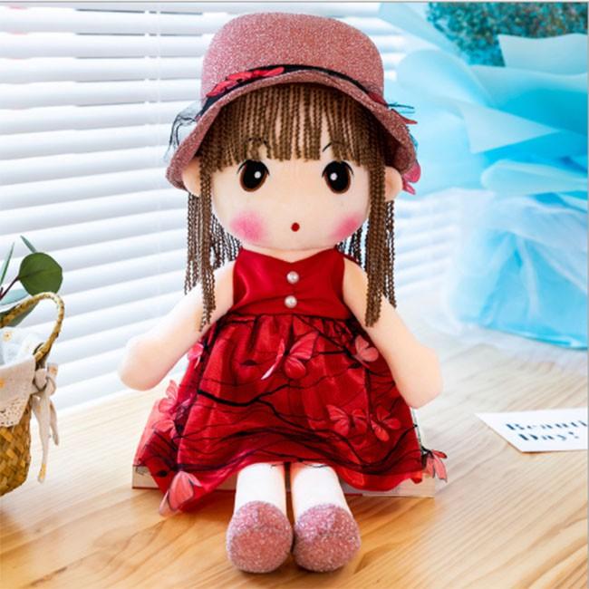 Búp Bê Vải Bông Phong Cách Hàn Quốc 45cm ( Màu Hoa Đỏ )