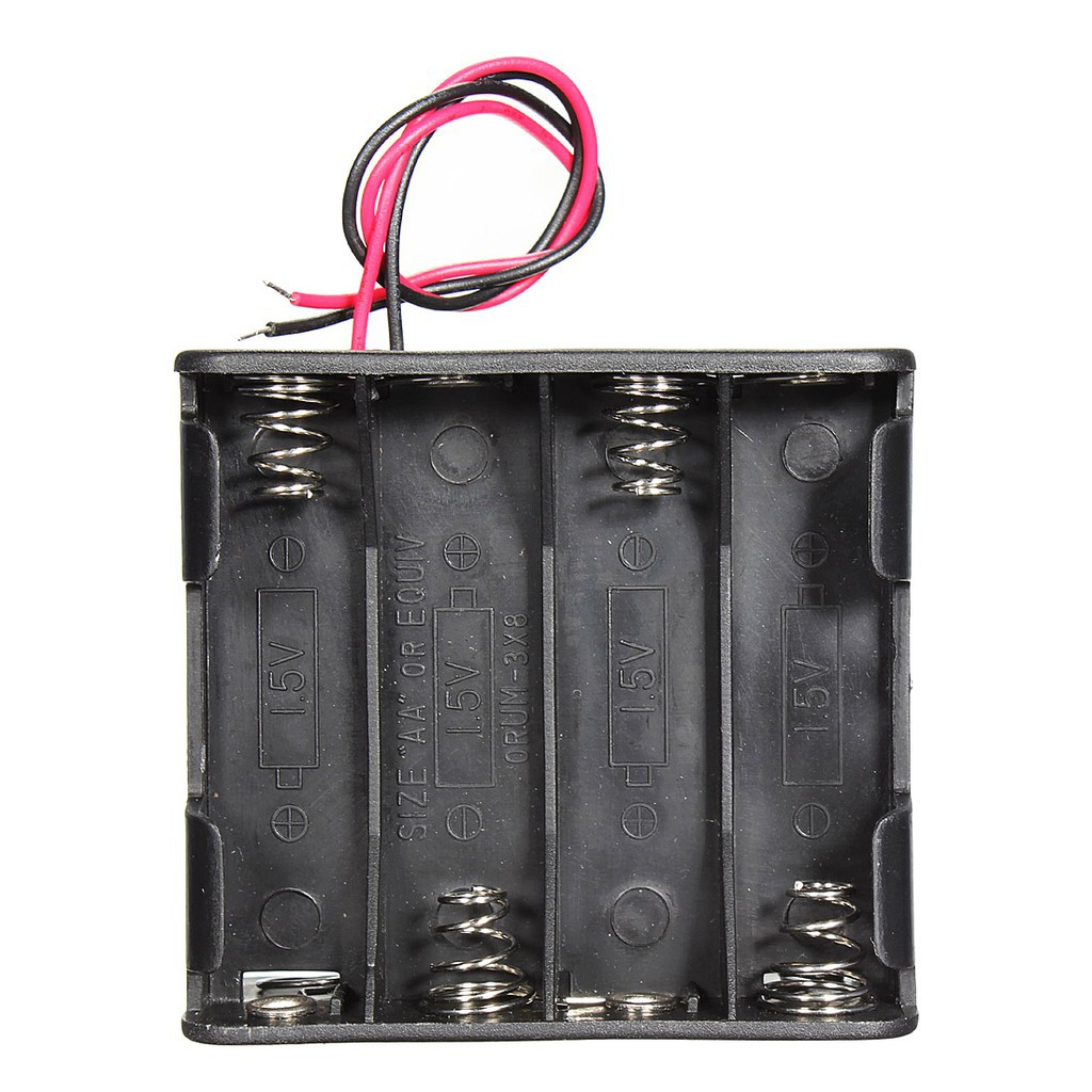 H.T.E กล่องพลาสติกเก็บแบตเตอรี่ 12V สีดำ พร้อมลวดสำหรับแบตเตอรี่ 4X 18650 / 8X AA