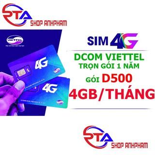Sim 4G Viettel Trọn Gói 1 Năm (4GB/Tháng - Gói D500)