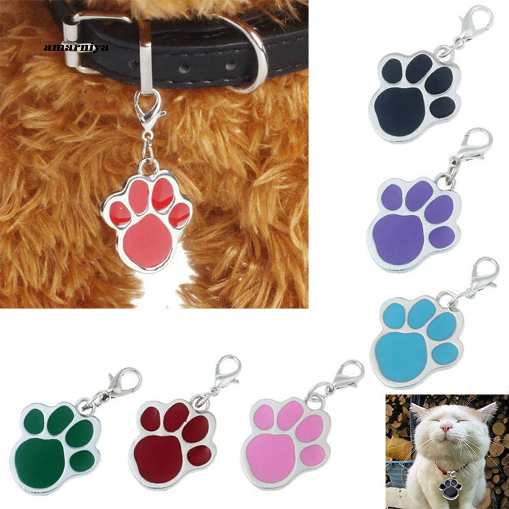 AMA♥Paw Dog Puppy Cat Anti-Lost ID Name Tags Collar Pendant Charm Pet Accessories