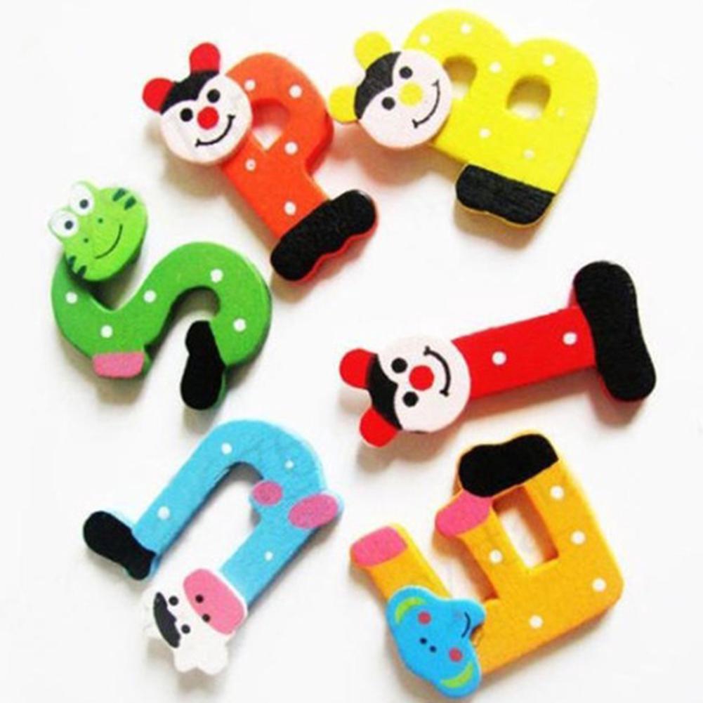 26pcs Wooden Cartoon letter Alphabet A-Z Magnets Refrigerator stickers