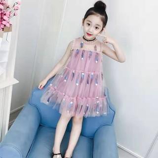 (NT001)Đầm bé gái họa tiết cách điệu phối lưới ba tầng  siêu dễ thương