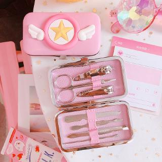7PCS Nail Clipper Set Stainless Steel Cartoon Pink Manicure Kit For Nail Art Daily Trimming Nail Clippers Scissors Tool Beauty Set