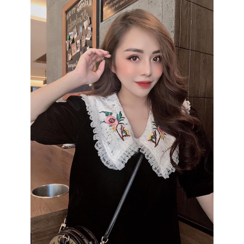 Váy Nhung Cổ Ren Thêu Hoa Y866