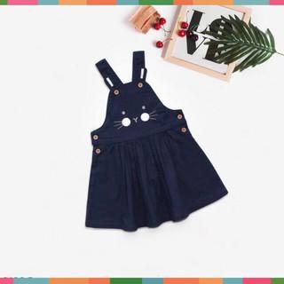 Váy Yếm Bé Gái, Thêu Mèo Cực Xinh, Vải Linen Cực Đẹp Hàng Made In VN Cao Cấp, Size 1-8