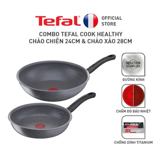 Bộ nồi chảo Tefal Cook Healthy 2pcs (Chảo 24/Chảo xào 28)