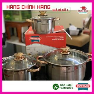 Bộ nồi Sunhouse SH781, Bộ nồi inox SH781, 5 đáy dùng cho bếp từ, 3 nồi kích thước: 16cm, 20cm, 24cm. Phù hợp với mọibeep