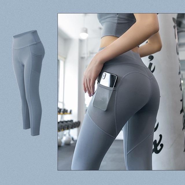 Quần tập dài Gym nữ cạp lưng cao,có túi, nâng mông co giãn 4 chiều, thoáng mát, dùng quần tập Yoga, Gym, Zumba, Aerobic