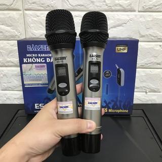 Micro không dây hát karaoke Ealsem T2 ( 2 micro ) chuyên dùng cho loa kéo, amply, mic hút hát cực nhẹ thumbnail