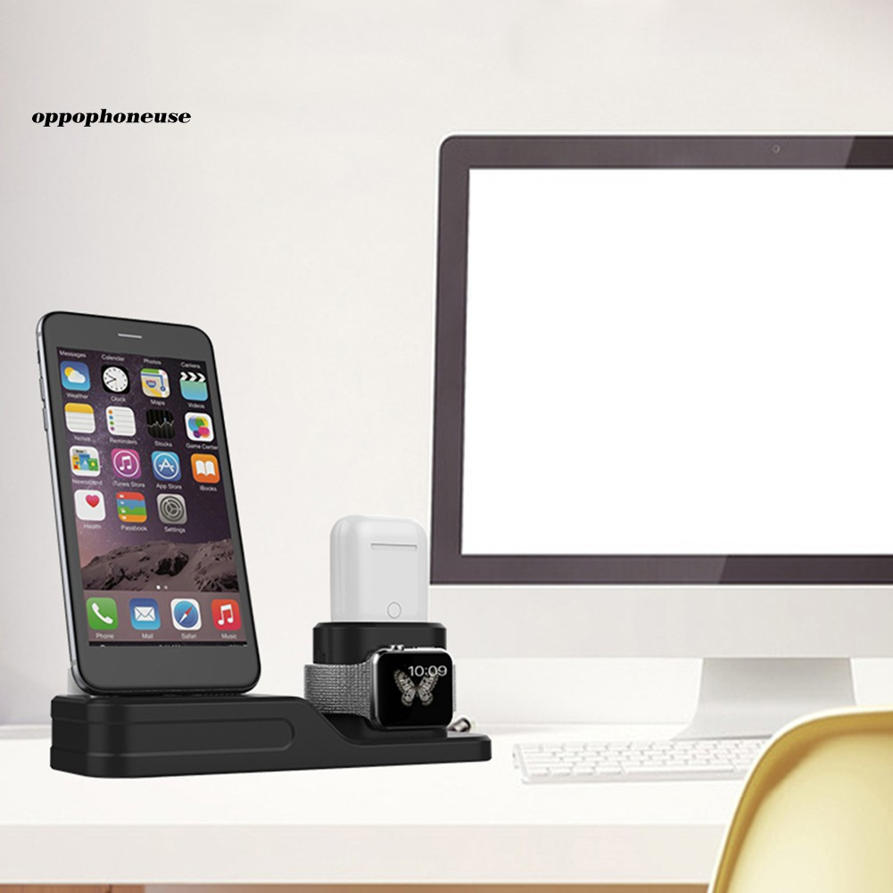 【OPHE】3 in 1 Desk Charging Stand Dock Charger Station for Apple iPhone iWatch AirPods