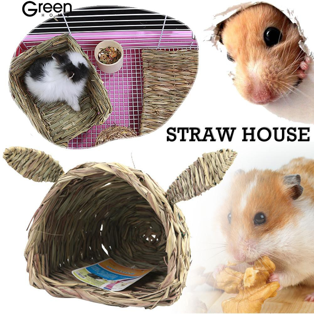 GH🐕 Woven Straw Pet Rabbit Guinea Pig Cage Nest House