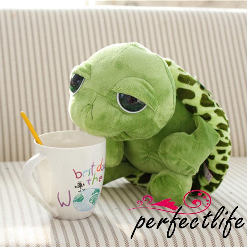 ★HZL-20cm Cute Tortoise Plush Toy Green Big Eyes Stuffed Turtle Animal Plush
